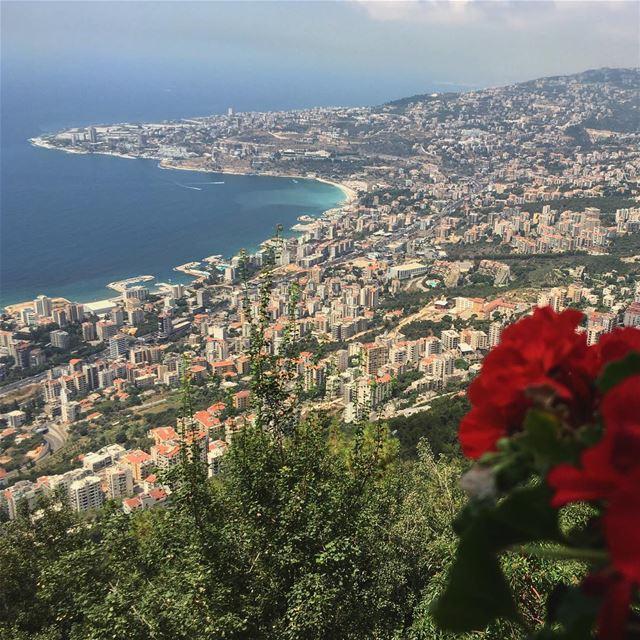 harisa jounieh sea view Lebanon Liban Red flower city beirut ... (Notre Dame du Liban-Harissa (Lady Of Lebanon))