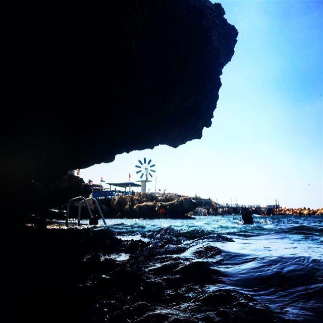 anfeh windmill blue sea swimming rock lebanon summer ...
