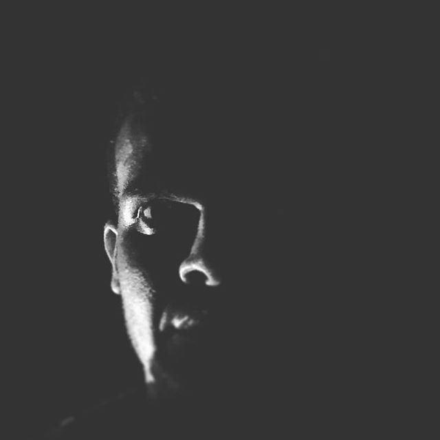 blackandwhite selfie night dark ...