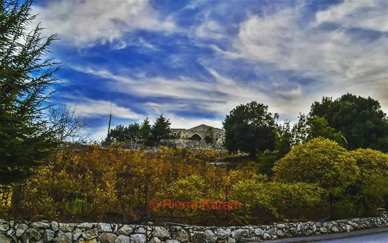 welcome autumn yellow leaves cloudy blue sky clouds old lebanese... (Annaya-mar charbel)