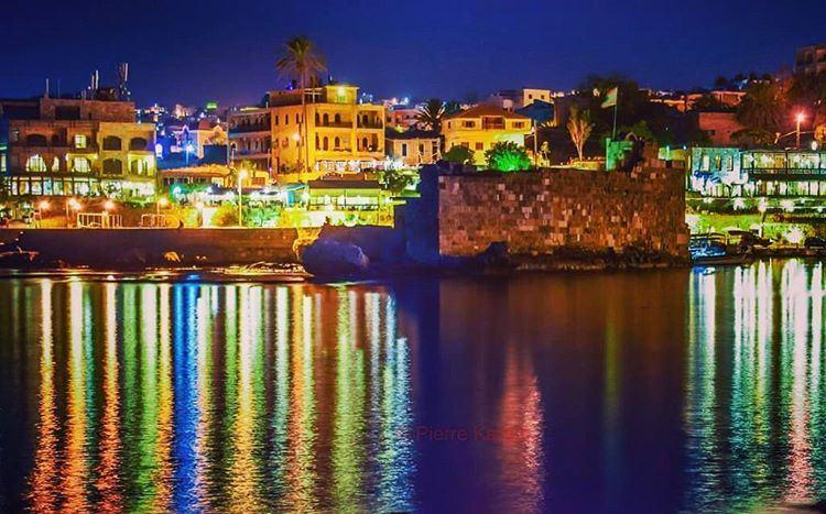 byblos at night city lights sea reflection boat old port ... (Byblos - Jbeil)