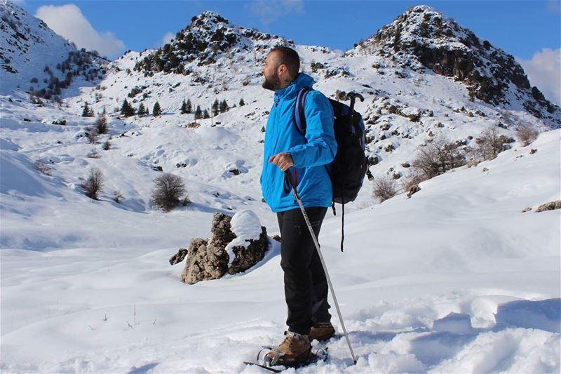 hiker snowshoeing hikeradventure lebanesestyle lebanesemountains ... (Ehmej, Mont-Liban, Lebanon)