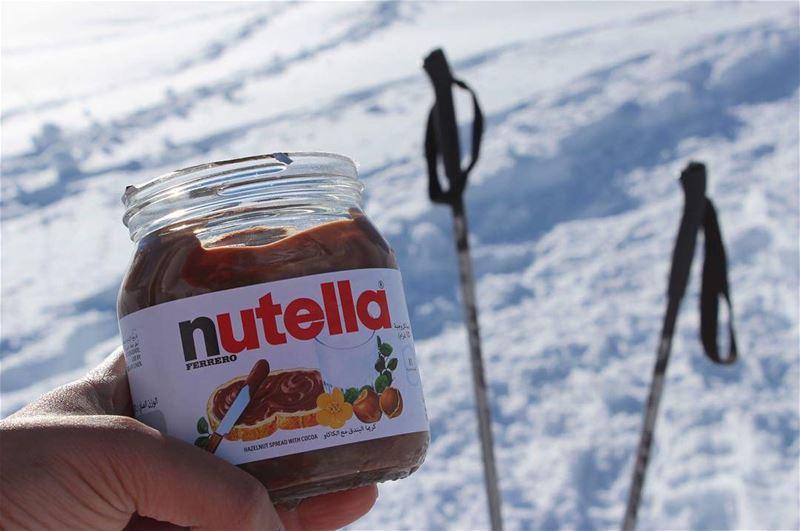 breaktime rest energy nodiet nutella snowshoeing whatsuplebanon ... (Laqlouq spirit)