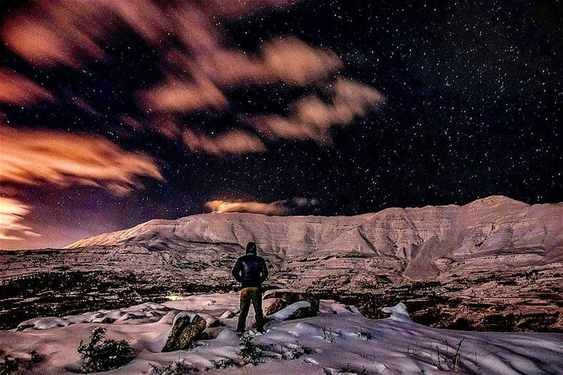 night nighthike hike hiking adventure snow cold mountains white clouds... (Sanine Mountains)