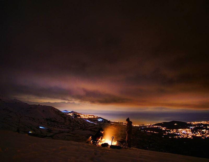 camping camp hiking hike clouds snow mountains bonfire winter freezing... (Sanine Mountains)