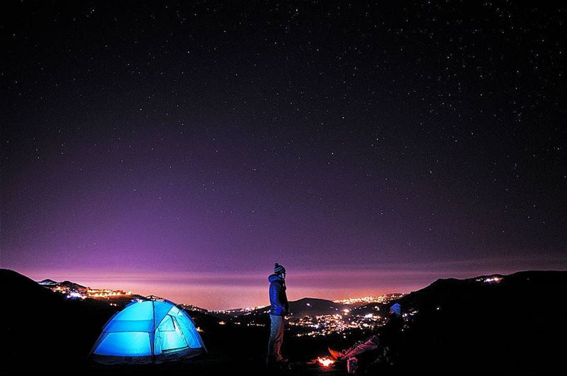 night nightphoto sky city lights camping camp hike hiking bonfire stars... (Sannine)