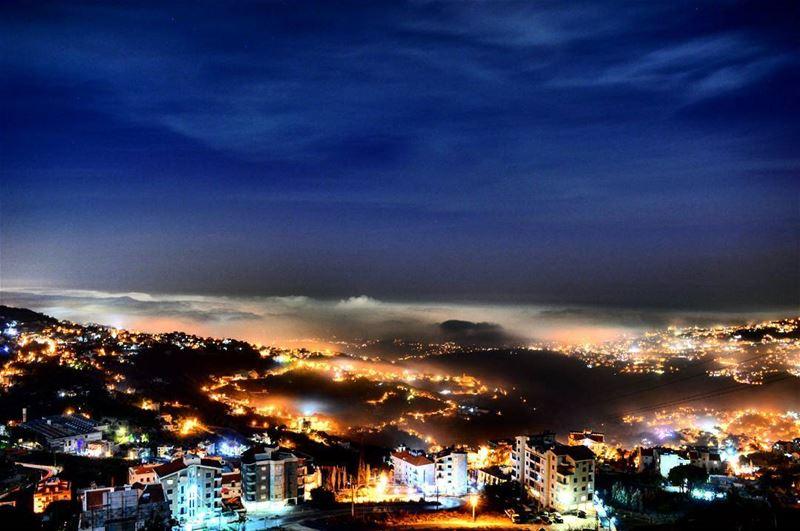 foggy night bikfaya deleb autumn landscape nightphoto nightphotography... (Bikfaya El Delb)