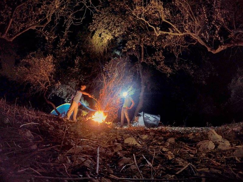 saturday night camp camping hike hiking bonefire fire nature forest tent... (Ain Kfaa)
