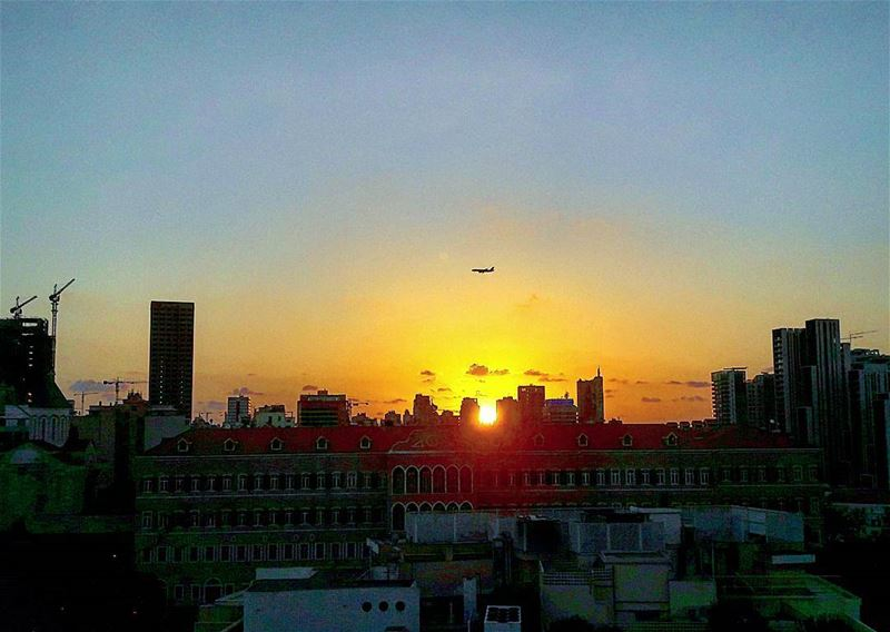 sunset beirut capitole rooftop airplane buildings... (Capitole)