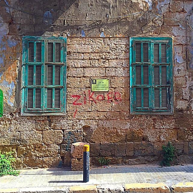 Sorry, we are closed windows old wall shutters green abandonned ... (Achrafieh, Lebanon)