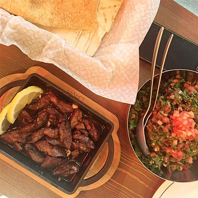 Not bad for a thursday;) lunch chicken liver 2asbe pomegranate ... (Bayrut Street Food)