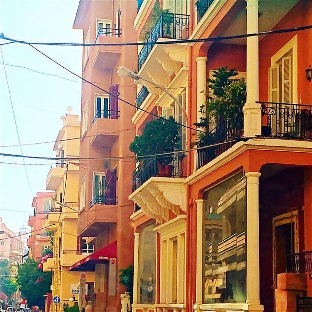 Les balcons d'ach! lebanon oldbuildings balconies orange yellow ... (Achrafieh, Beirut)