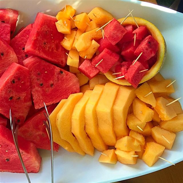 This is how we do it! watermelon fresh fruits delicious summer red ... (Beirut, Lebanon)