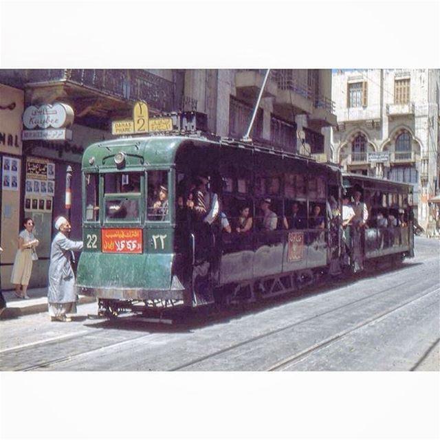 ترمواي بيروت محطة شارع ويغان عام ١٩٦٢ ،
