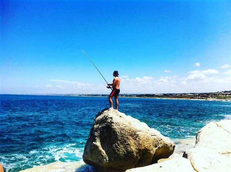 lebanon tyre southernlebanon fishing sea seaside seaadventure sky ... (الناقورة / Al Naqoura)