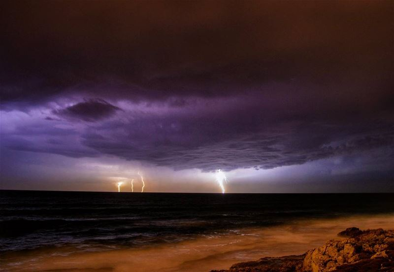 Eye of the storm 🌊☁ stormy weather storm lightning clouds waves beach...