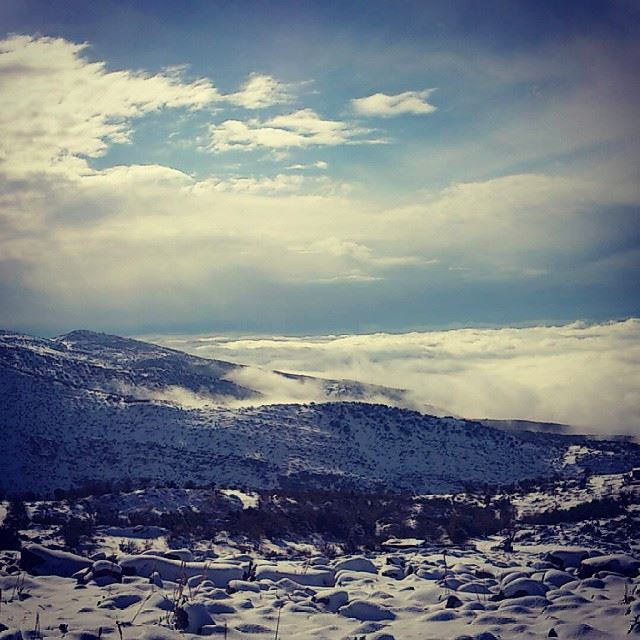 beautiful scene from hasbaya shebaa road snow mountains ...