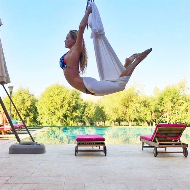 Loving this weather☀️🏝🙌 summervibes sunshine aerialyoga fitness ... (`Anjar, Béqaa, Lebanon)