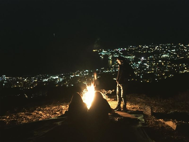 Full moon night!.... fullmoon fire hike tea like4like ... (Jounieh - Harissa)