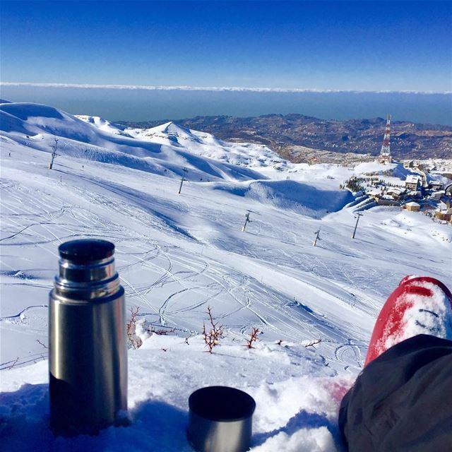 Sometimes we need a break.... ski teabreak snow ski lebanon ... (Mzaar Kfardebian Ski Resort.)
