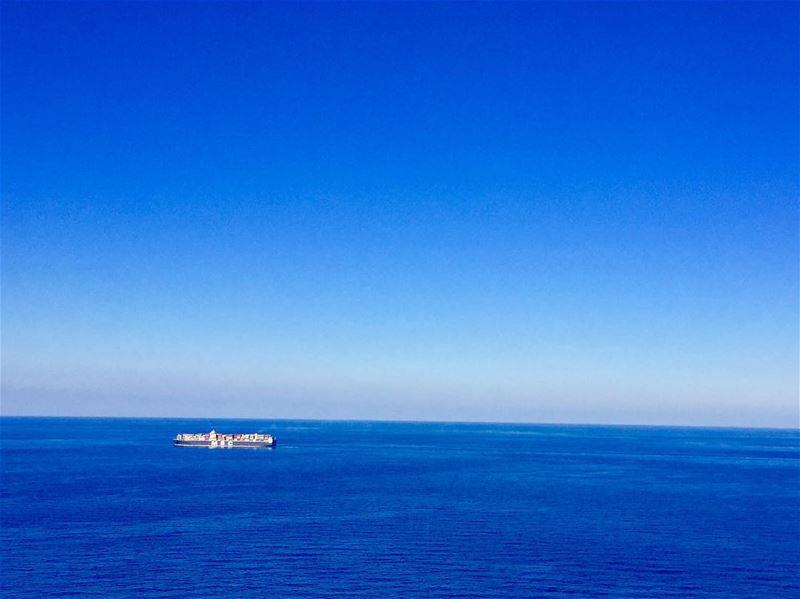 The big blue!... mediterraneansea bluesky seaview bluesea ... (Beirut, Lebanon)