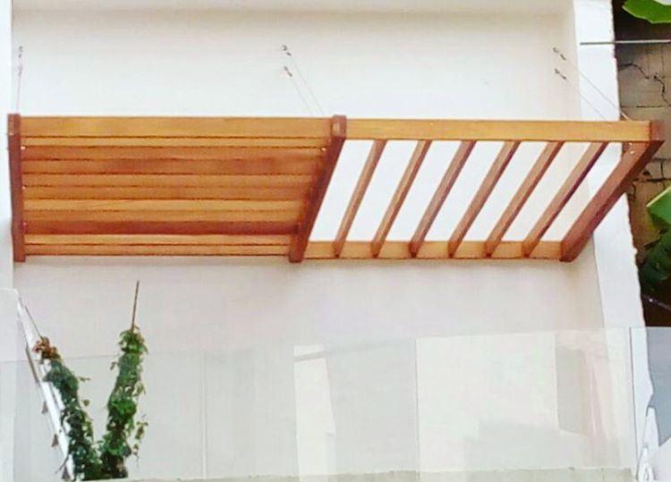 wood iroko suspended pergola custommade design architecture ... (Biyada)