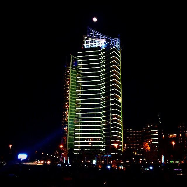 Beirut lebanon livelovelebanon tower night lights moon ... (Zaytouna Bay)