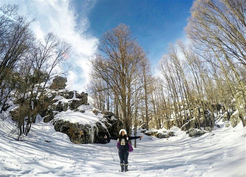 She is  Happy  Strong  Wild &  Free ❄❄❄  MyGirl 🙅 Hiking  JabalMoussa ... (Jabal Moussa)