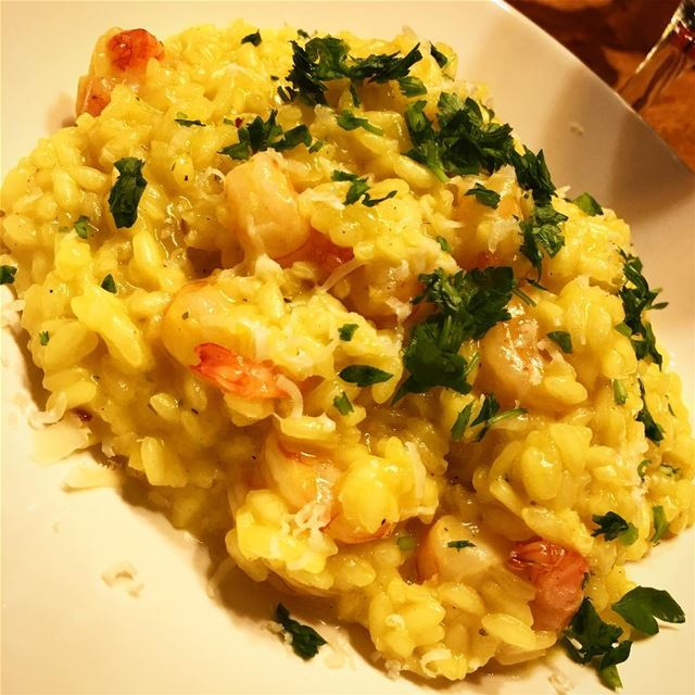 Tonight on the menu: Shrimp risotto with lemon and saffron. risotto ...