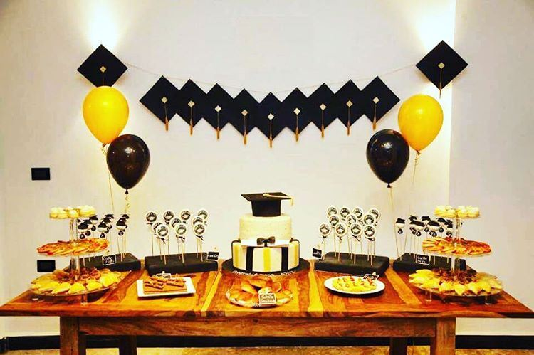 graduation party setup mywork celebration cake balloons hats ...