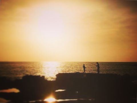 sun sunset jbeil nature sea fishing fish rocks livelovelebanon ... (Byblos - Jbeil)