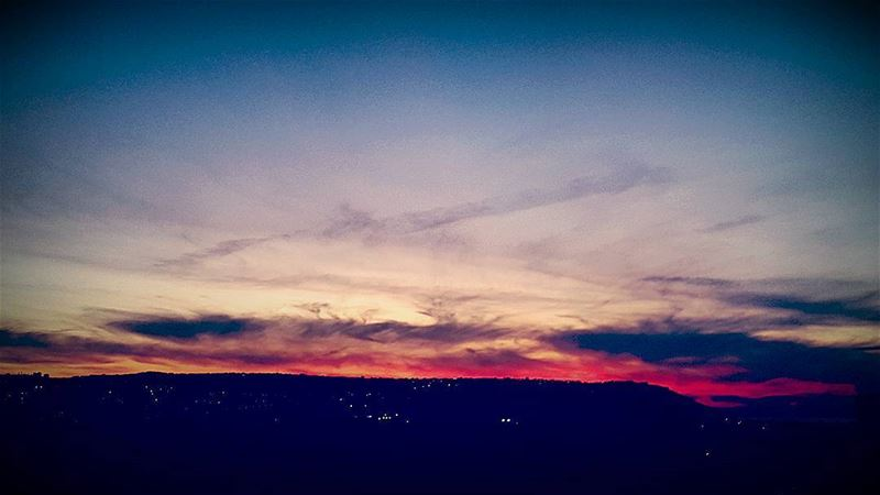 sunsets  sunsetsky  red  flames  night  lights  mountain  horizon  view ... (Mejdlaya - Haret Al Jdide)