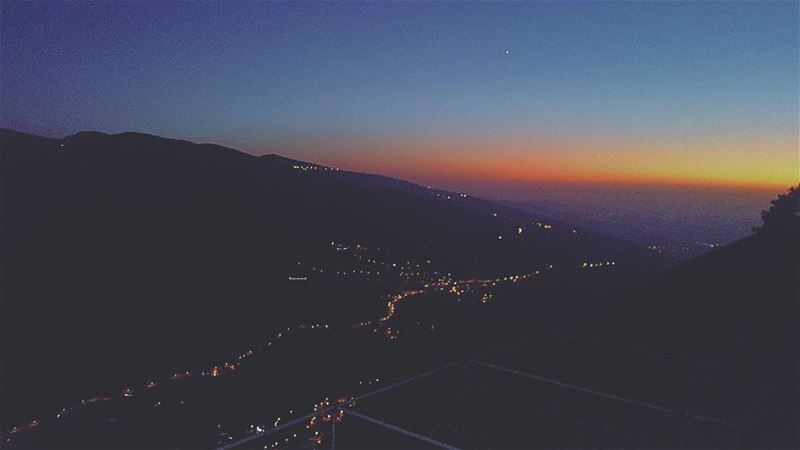 sunset lights mount star road endlessroad viewfromabove ...