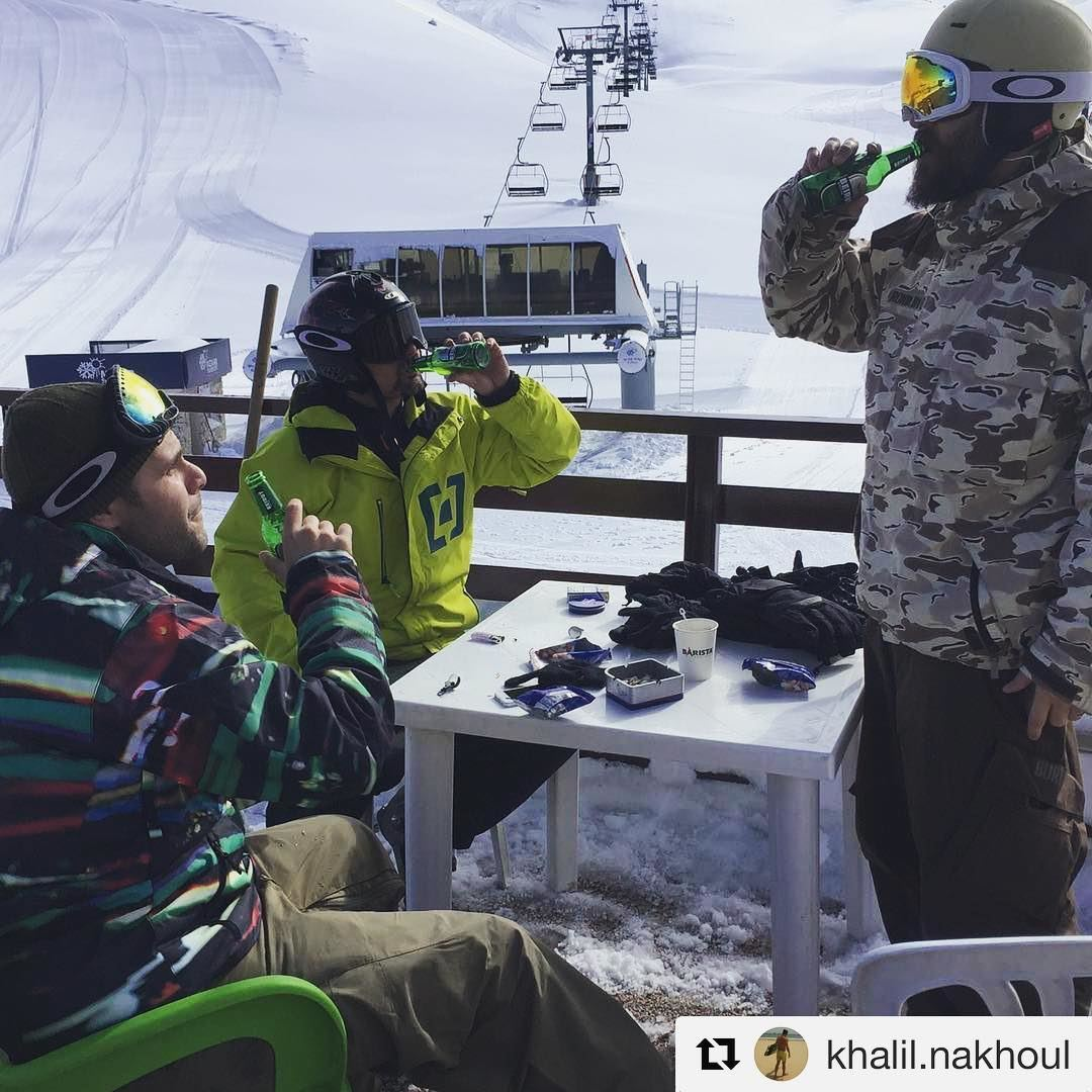 @khalil.nakhoul seems to have the right recipe for kicking off a holiday... (Mzaar Ski Resort)