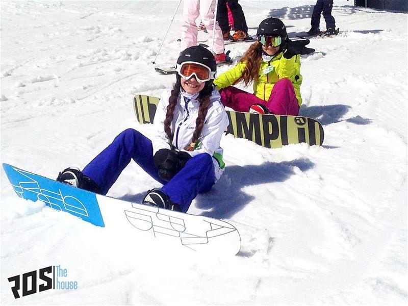 Sister bonding!Naya and Eva enjoying their brand new rentals from ... (Mzaar Kfardebian Ski Resort.)