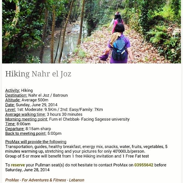 @promaxsports Hiking Lebanon nahrElJoz ...