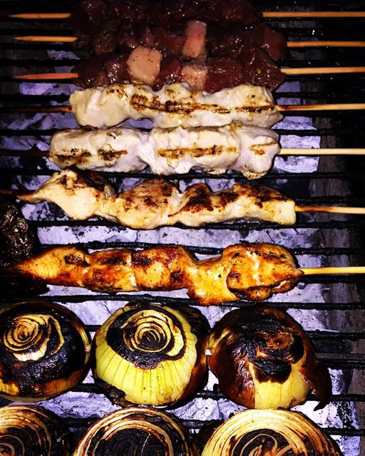 grilling meat chicken taouk onion family friends gathering dinner...