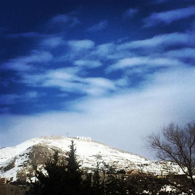 nature blue sky clouds mountains snow trees village cold weather Faraya...