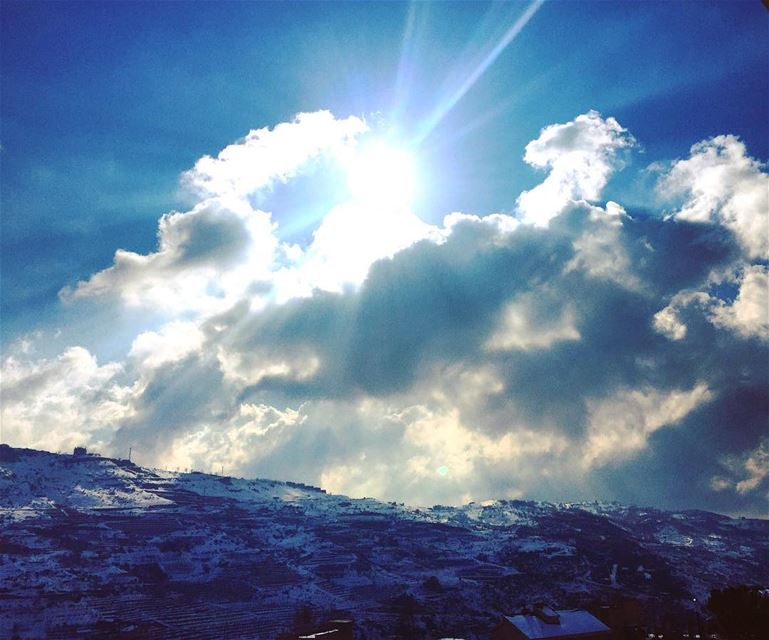 nature cold weather blue deep sky white clouds sun shining snow mountains...