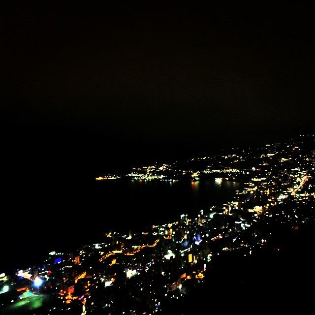 night lights buildings city bay sea water beach Jounieh Lebanon...