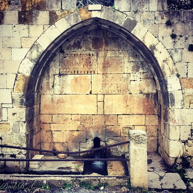 old fountain water town village mountain Abadiyeh Lebanon...