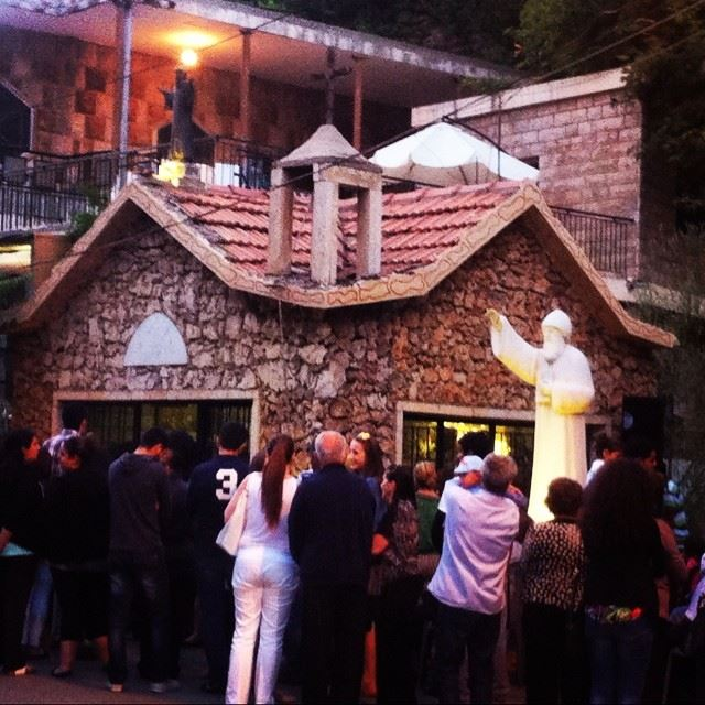 church cross st.charbel prayers people Faraya Lebanon...