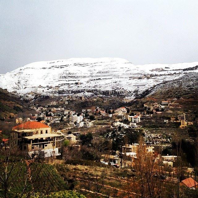 nature green white village faraya snow Lebanon...
