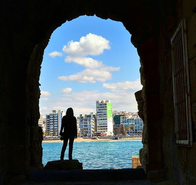 The past and the present❤❤❤ ruins clouds shadow beautifulday view ... (Saida The Sea Castle)