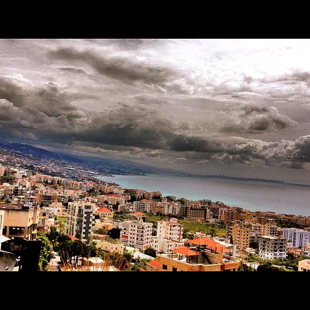 going down to byblos jbeil buildings houses cloudy sea northlebanon...