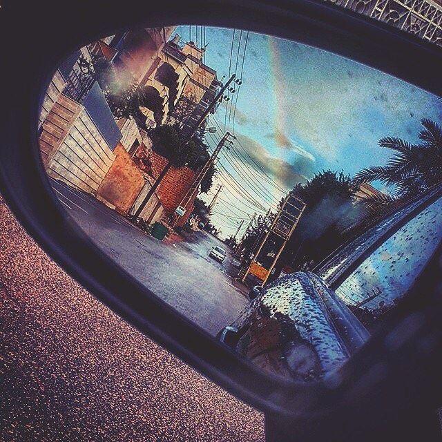 Rainbow & Rain. rain rainbow car mirror driving beauty ... (Jeita)