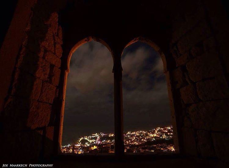 I think I can hear the unseen moon...  window  old  sky  night  lights ... (Ghazir, Mont-Liban, Lebanon)