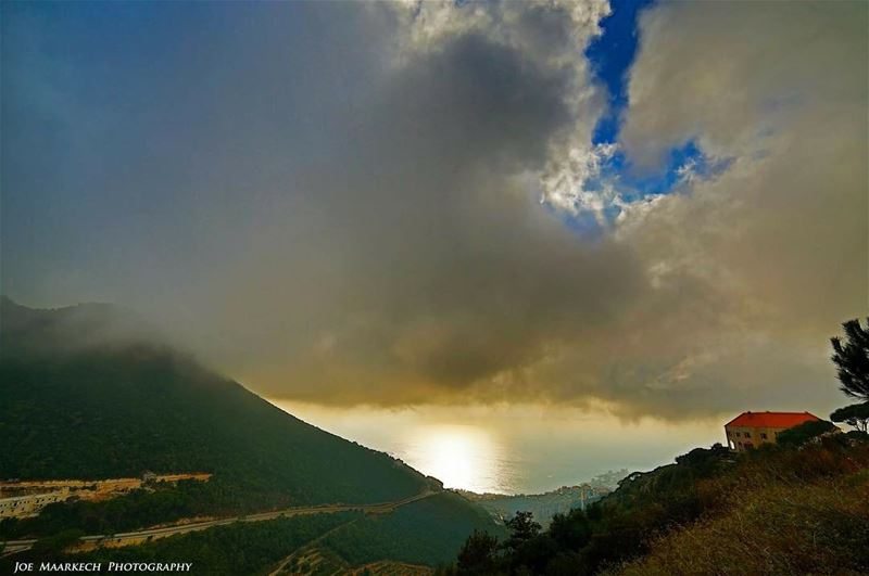 Jounieh from Dlebta... jounieh dlebta lebanon mountains sea sky ... (Dlebta, Mont-Liban, Lebanon)