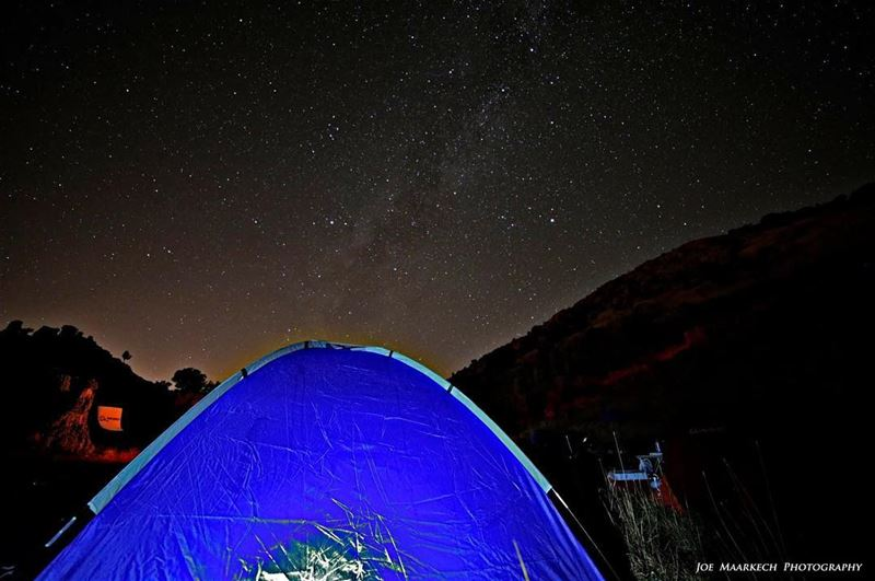 The Milky Way and my Tent... Two things, one passion😍☺️ milkyway tent ... (Tannourine El Faouka)