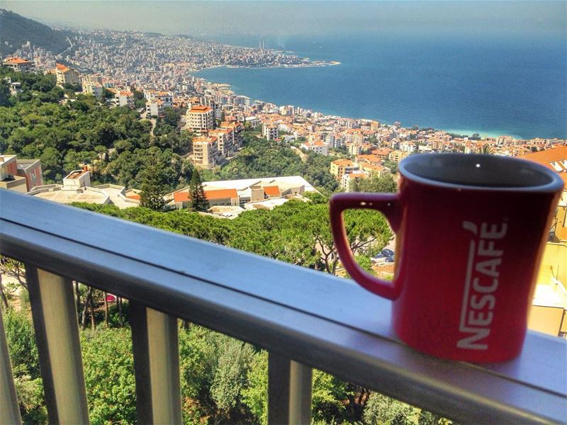 Good morning! Have a great week☺️ goodmorning morning nescafe balcony ... (Ghazir, Mont-Liban, Lebanon)